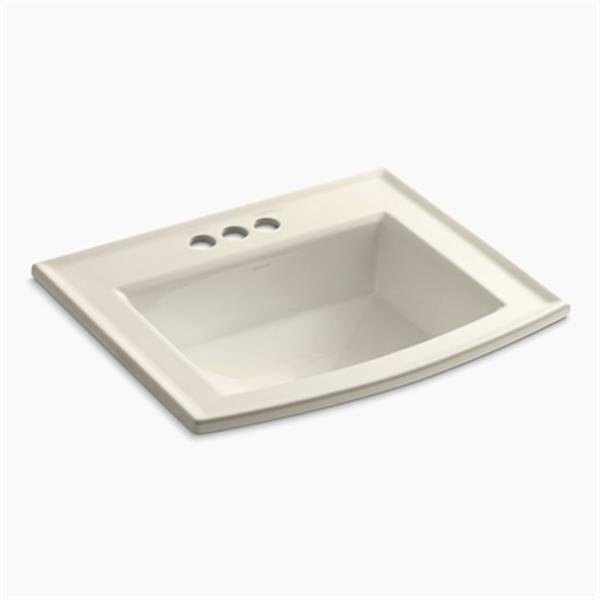 KOHLER Archer 19.44-in x 7.88-in Almond Porcelain Fire Clay Rectangular Self Rimming Sink with Faucet Hole