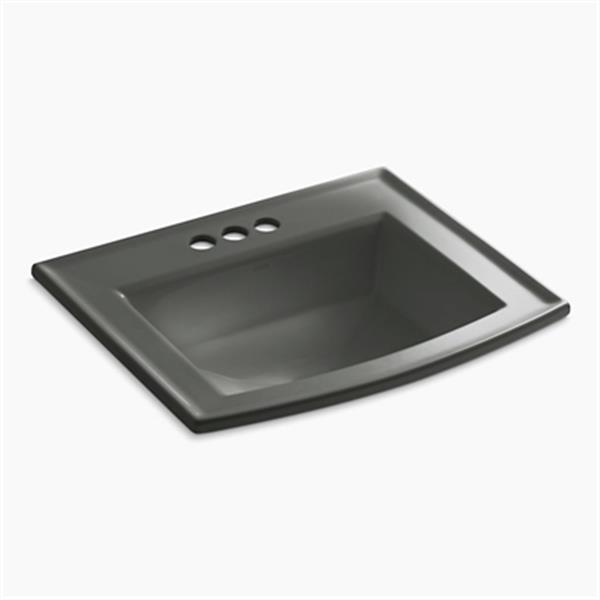 KOHLER Archer 19.44-in x 7.88-in Thunder Grey Porcelain Fire Clay Rectangular Self Rimming Sink with Faucet Hole