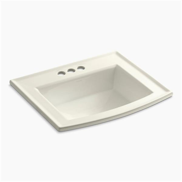 KOHLER Archer 19.44-in x 7.88-in Biscuit Porcelain Fire Clay Rectangular Self Rimming Sink with Faucet Hole