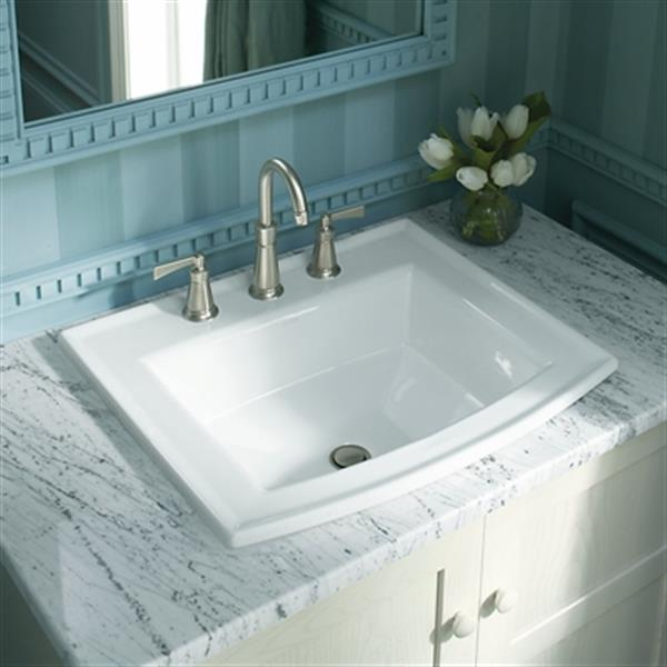 KOHLER Archer 19.44-in x 7.88-in White Porcelain Fire Clay Rectangular Self Rimming Sink with Faucet Hole