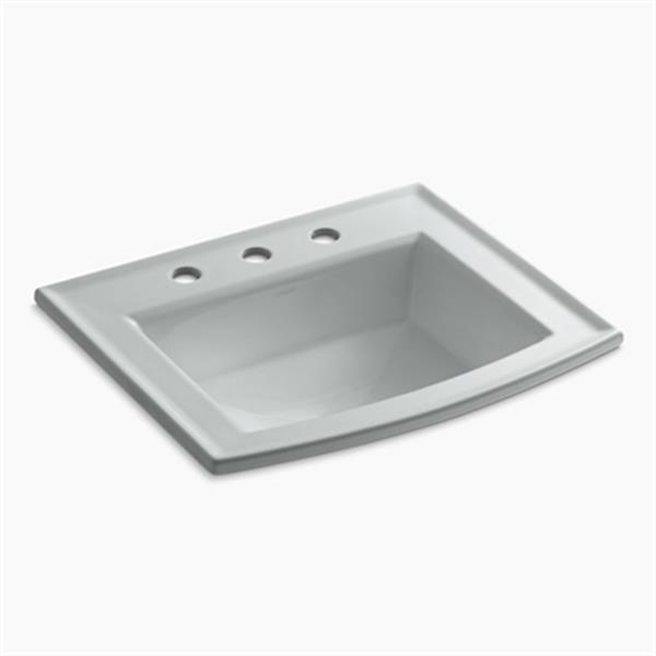 KOHLER Archer 19.44-in x 7.88-in Ice Grey Porcelain Fire Clay Rectangular Self Rimming Sink with Faucet Hole