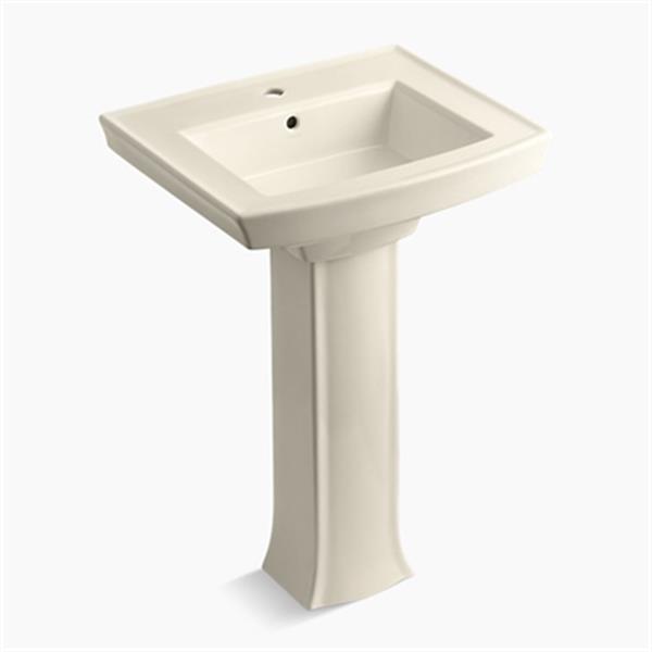 KOHLER Archer 23.94-in x 35.25-in Almond Porcelain Pedestal Sink with Faucet Hole
