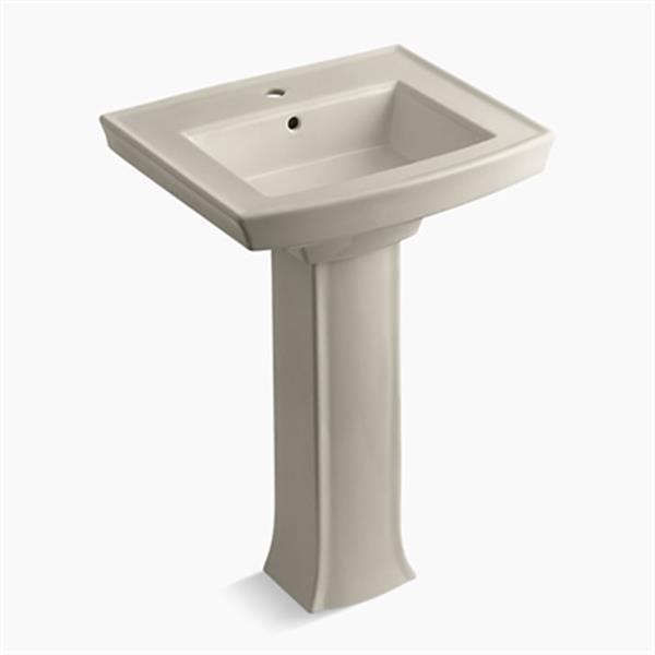 KOHLER Archer 23.94-in x 35.25-in Sandbar Porcelain Pedestal Sink with Faucet Hole