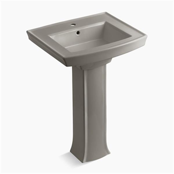 KOHLER Archer 23.94-in x 35.25-in Cashmere Porcelain Pedestal Sink with Faucet Hole