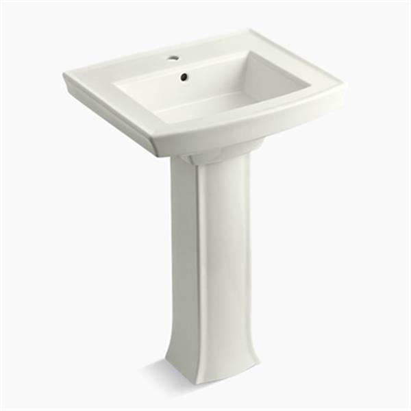 KOHLER Archer 23.94-in x 35.25-in Off White Porcelain Pedestal Sink with Faucet Hole