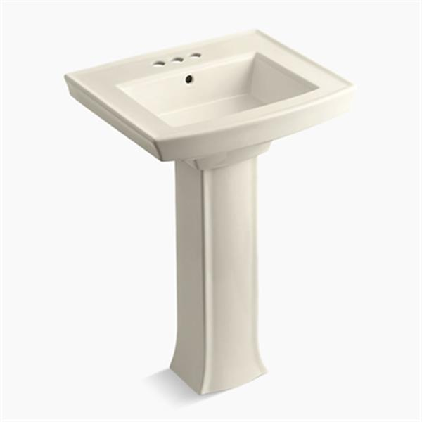 KOHLER Archer 23.94-in x 35.25-in Almond Pedestal Sink with Faucet Hole