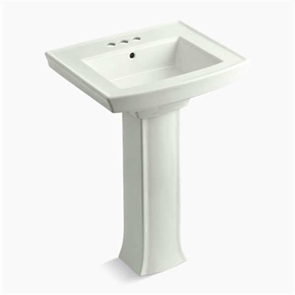 KOHLER Archer 23.94-in x 35.25-in Dune Pedestal Sink with Faucet Hole