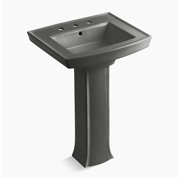 KOHLER Archer 23.94-in x 35.25-in Thunder Grey Pedestal Sink with Faucet Hole