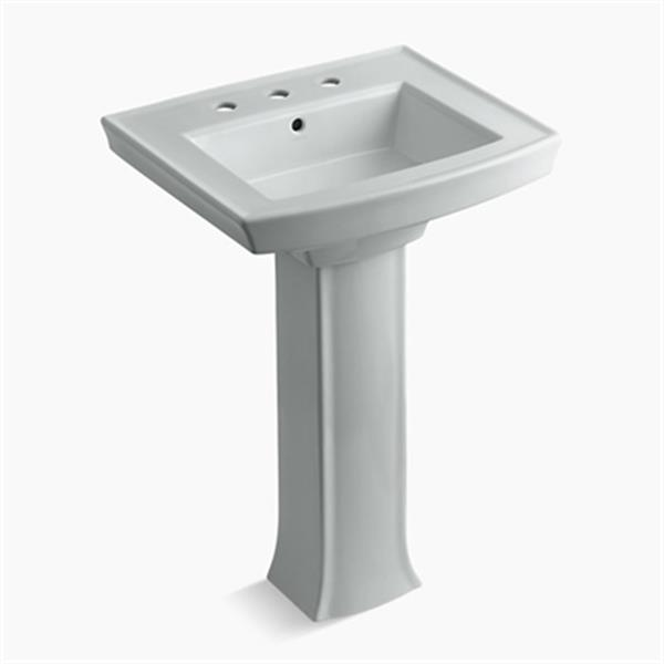 KOHLER Archer 23.94-in x 35.25-in Ice Grey Pedestal Sink with Faucet Hole