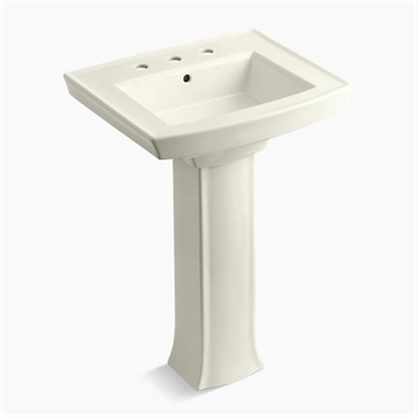 KOHLER Archer 23.94-in x 35.25-in Biscuit Pedestal Sink with Faucet Hole