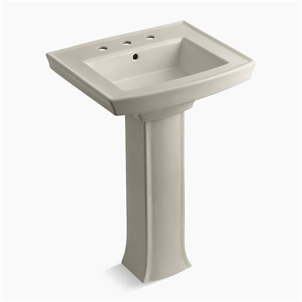 KOHLER Archer 23.94-in x 35.25-in Sandbar Pedestal Sink with Faucet Hole