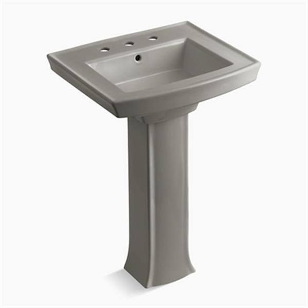KOHLER Archer 23.94-in x 35.25-in Cashmere Pedestal Sink with Faucet Hole