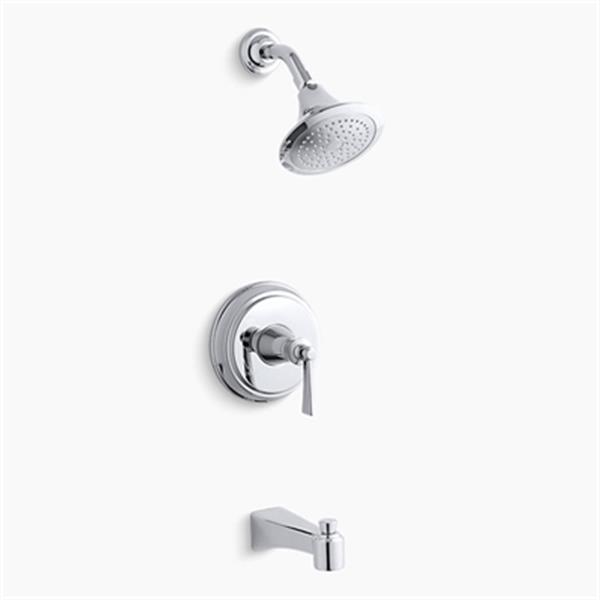 KOHLER Archer Polished Chrome Bath and Shower Trim Set with Lever Handle
