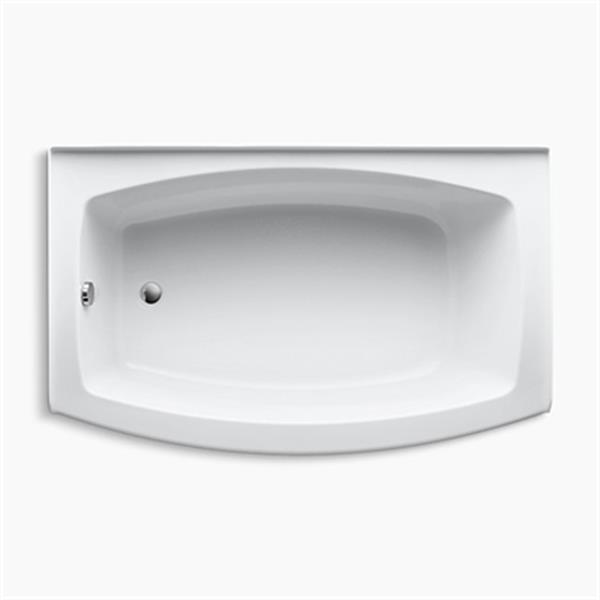 KOHLER 60-in x 38-in Curved Alcove Bath with Integral Tile Flange