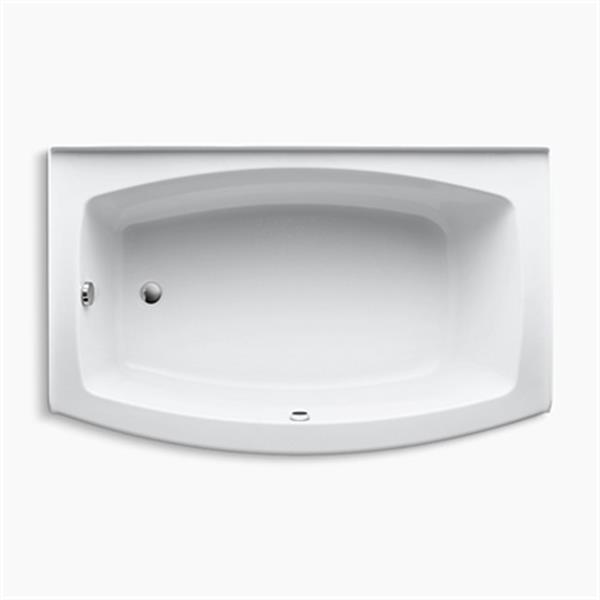 KOHLER 60-in x 38-in Curved Alcove Bath with Bask Heated Surface