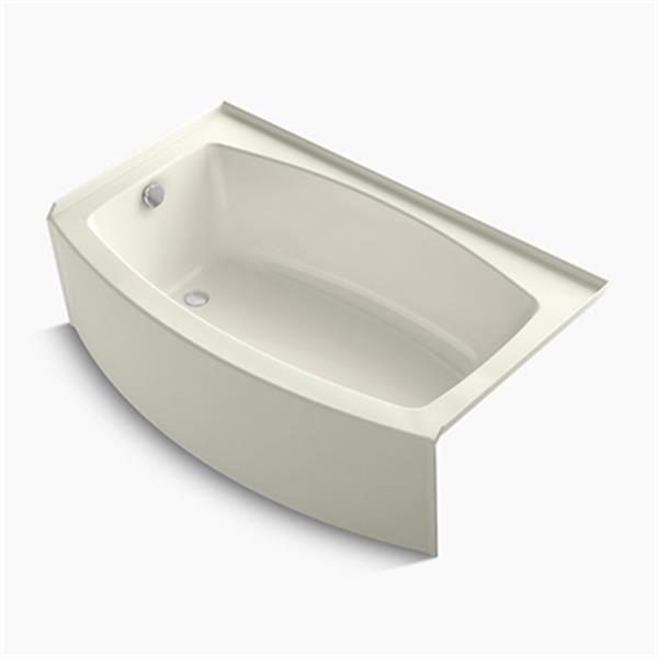 KOHLER 60-in x 36-in Curved Alcove Bath with Bask Heated Surface