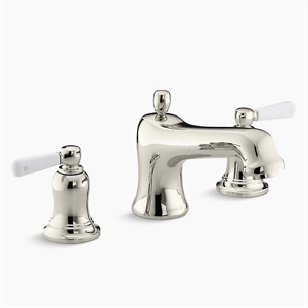 KOHLER Bancroft 7.1-in Vibrant Polished Nickel Deck-Mount Bath Faucet Trim with Withe Ceramic Lever Handles