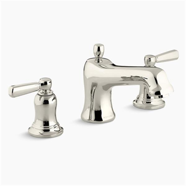 KOHLER Bancroft Vibrant 7.1-in Polished Nickel Deck-Mount Bath Faucet Trim with Metal Lever Handles