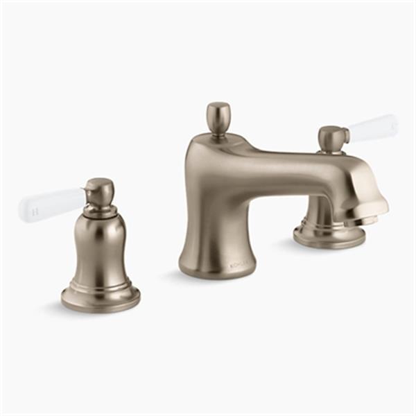 KOHLER Bancroft 7.1-in Vibrant Brushed Bronze Bath Deck-Mount High-Flow Bath Faucet Trim with White Ceramic Lever Handles