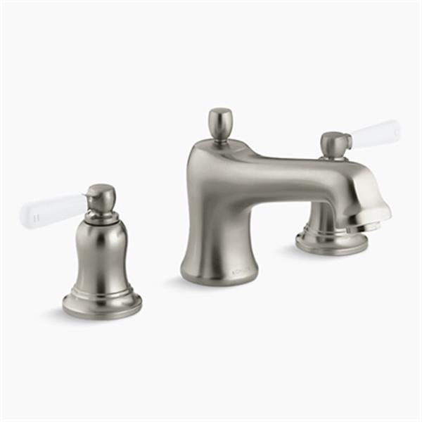 KOHLER Bancroft 7.1-in Vibrant Brushed Nickel Deck-Mount High-Flow Bath Faucet Trim with White Ceramic Lever Handles
