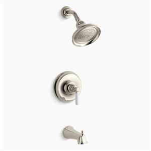 KOHLER Bancroft Polished Nickel Rite-Temp Pressure-Balancing Bath and Shower Trim with Slip-Fit Spout and Ceramic Lever Handle