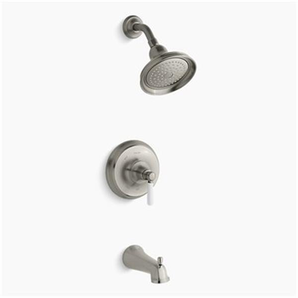 KOHLER Bancroft  Brushed Nickel Rite-Temp Pressure-Balancing Bath and Shower Trim with Slip-Fit Spout and Ceramic Lever Handle