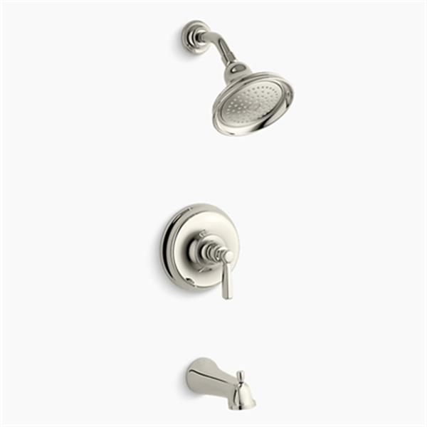 KOHLER Bancroft  Polished Nickel Rite-Temp Pressure-Balancing Bath and Shower Faucet Trim with Slip-Fit Spout-Metal Lever Handle