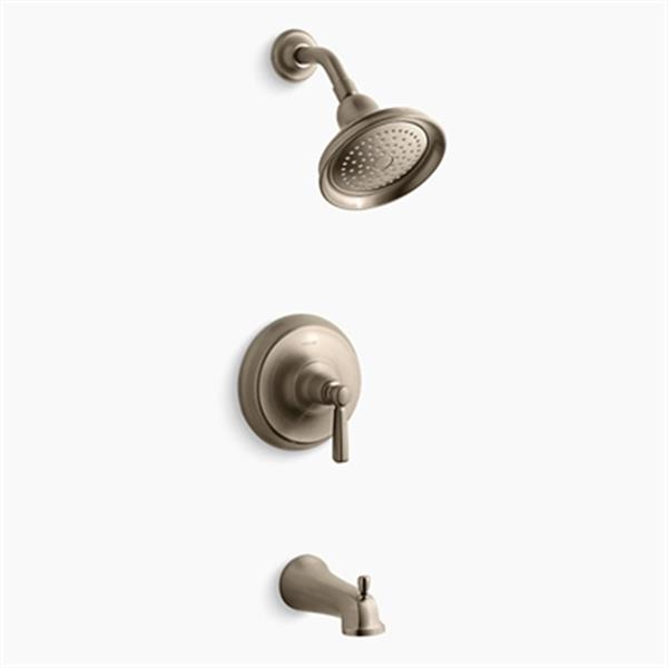 KOHLER Bancroft  Brushed Bronze Rite-Temp Pressure-Balancing Bath and Shower Faucet Trim Slip-Fit Spout and Metal Lever Handle