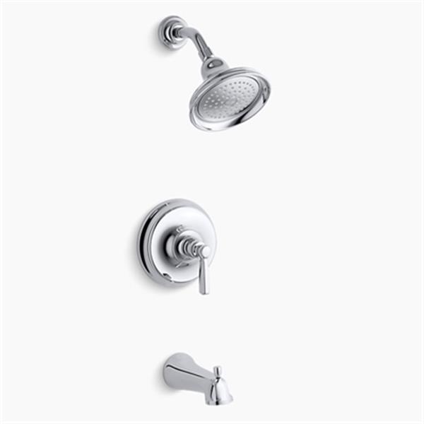 KOHLER Bancroft Polished Chrome Rite-Temp Pressure-Balancing Bath-Shower Faucet Trim with Diverter Spout and Metal Lever Handle