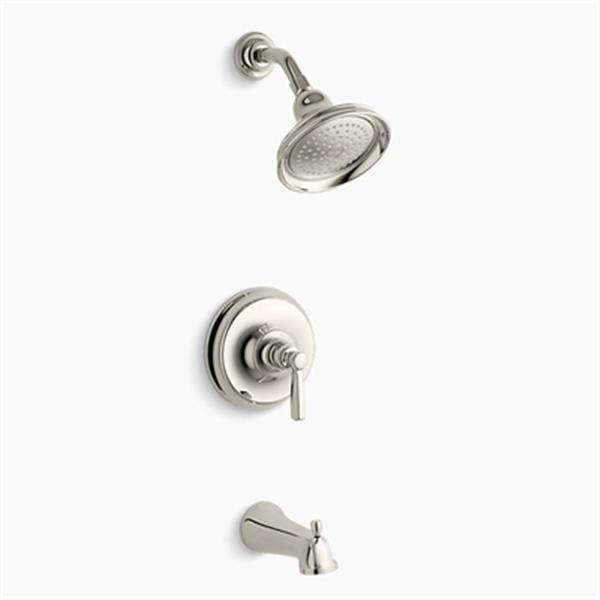 KOHLER Bancroft  Polished Nickel Rite-Temp Pressure-Balancing Bath and Shower Faucet Trim with Diverter Spout-Metal Lever Handle