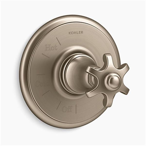 KOHLER Artifacts Vibrant Brushed Bronze Rite-Temp Pressure-Balancing Valve Trim with Prong Handle