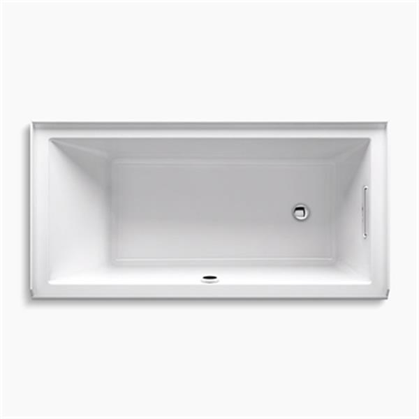 KOHLER 60-in x 30-in Alcove Bath with Bask Heated Surface with Integral Flange
