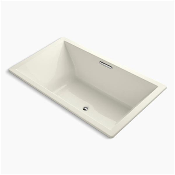 KOHLER 72-in x 42-in Drop-in Bath with Bask Heated Surface and Center Drain