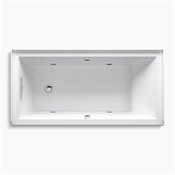 KOHLER 60-in x 30-in Alcove BubbleMassage Air Bath with Bask Heated Surface and Chromatherapy