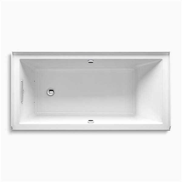 KOHLER 60-in x 30-in Alcove BubbleMassage Air Bath with Bask Heated Surface