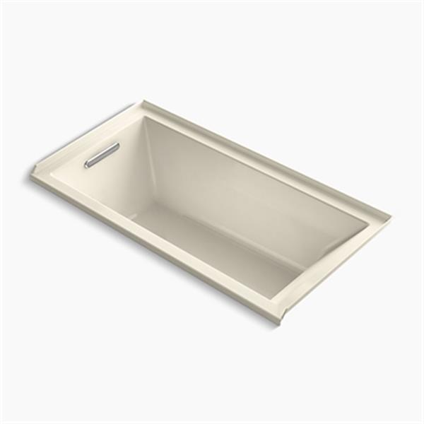 KOHLER 60-in x 30-in Alcove VibrAcoustic Bath with Bask Heated Surface and Integral Flange