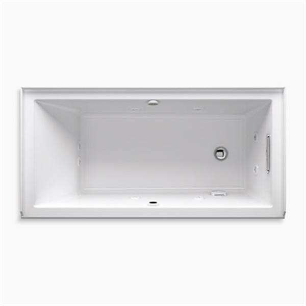 KOHLER 60-in x 30-in Alcove Whirlpool + BubbleMassage Air Bath with Integral Flange