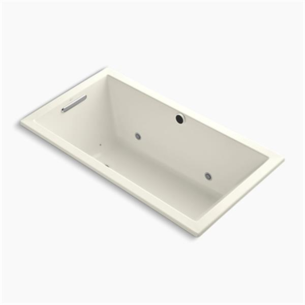 KOHLER 60-in x 32-in Drop-in BubbleMassage Air Bath with Chromatherapy