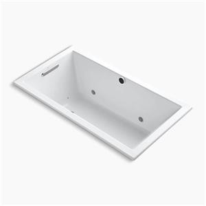 Kohler Co. Underscore 60-in x 32-in White Drop-in BubbleMassage Air Bath with Bask Heated Surface, Chromatherapy and Reversible