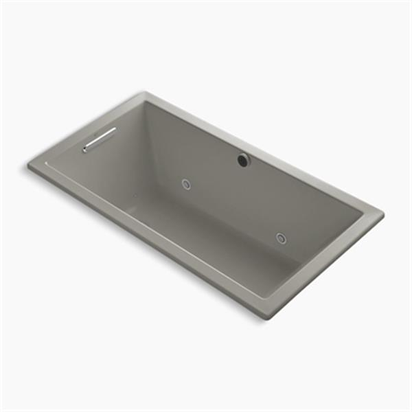 KOHLER 60-in x 32-in Drop-in BubbleMassage Air Bath with Bask Heated Surface, Chromatherapy and Reversible Drain