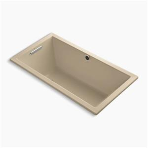 Kohler Co. Underscore 60-in x 32-in Mexican Sand Drop-in BubbleMassage Air Bath with Bask Heated Surface and Reversible Drain