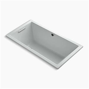 Kohler Co. Underscore 60-in x 32-in Ice Grey Drop-in BubbleMassage Air Bath with Bask Heated Surface and Reversible Drain