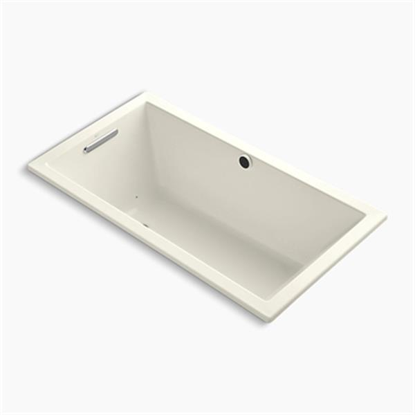 KOHLER 60-in x 32-in Drop-in BubbleMassage Air Bath with Bask Heated Surface and Reversible Drain