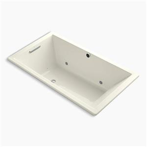 Kohler Co. Underscore 66-in x 36-in Biscuit Drop-in BubbleMassage Air Bath with Chromatherapy