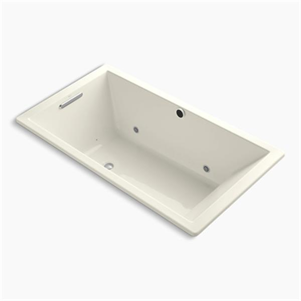 KOHLER 66-in x 36-in Drop-in BubbleMassage Air Bath with Bask Heated Suface, Chromatherapy and Reversible Drain