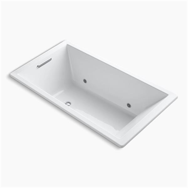 KOHLER 66-in x 36-in Drop-in VibrAcoustic Bath with Center Drain and Chromatherapy