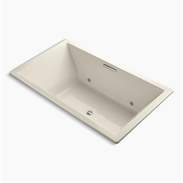 KOHLER 72-in x 42-in Drop-in BubbleMassage Air Bath with Bask Heated Surface, Chromatherapy and Center Drain