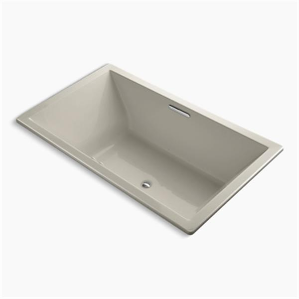 KOHLER 72-in x 42-in Drop-in BubbleMassage Air Bath with Bask Heated Surface and Center Drain