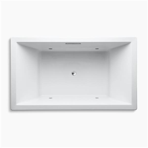 KOHLER 72-in x 42-in Drop-in VibrAcoustic Bath with Chromatherapy and Center Drain