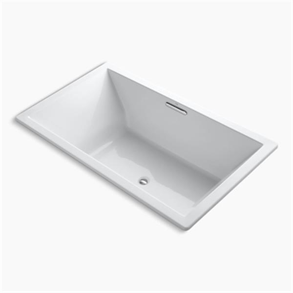 KOHLER 72-in x 42-in Drop-in VibrAcoustic Bath with Bask Heated Surface and Center Drain